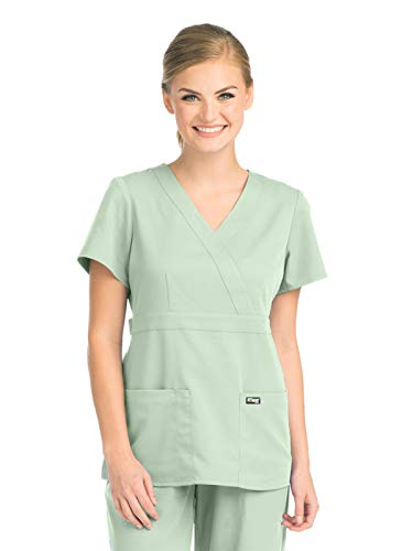 Womens Pistachio - Grey's Anatomy 4153 Women's Mock Wrap Top Pistachio 4XL