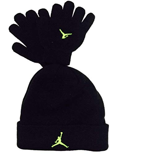 Nike Ribbed Beanie - Nike Jordan Air Illusion Jumpman Winter Cuffed Ribbed Beanie Gloves Set (Black/Volt)