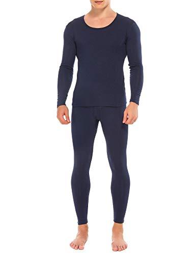 (M-anxiu Men's Cotton Long John Thermal Underwear Set Base Layer Shirt&Pants(Navy,2XL))