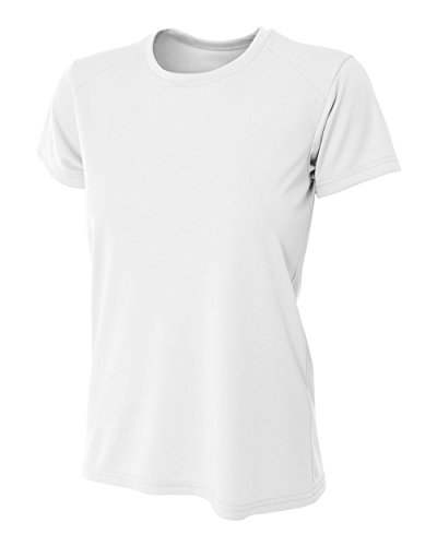 A4 Women's Cooling Performance Crew Short Sleeve T-Shirt, White, Small