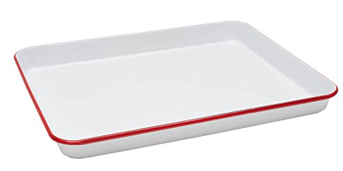 Enamelware Jelly Roll Tray - Solid White with Red Rim by Crow Canyon Home