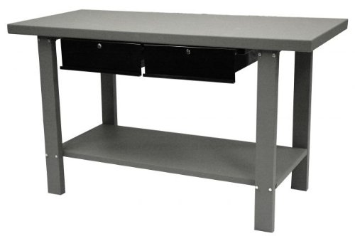 Drawer 2 Workbench - Homak 59-Inch Industrial Steel Workbench with 2-Drawers, Gray, GW00550170
