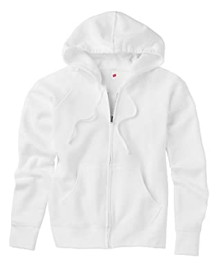 Hanes Women's EcoSmart Cotton-Rich Full-Zip Hoodie Sweatshirt, Small - White