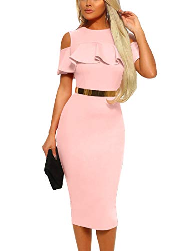 Mizoci Women's Sexy Cold Shoulder Ruffle Bodycon Evening Party Club Midi Dress,Medium,Pink