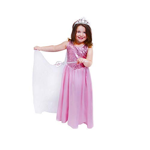 Butterfly Craze Pink Princess Halloween Costume Girls Dress w/Cape Tiara & Wand (Medium 3-4 Yrs)