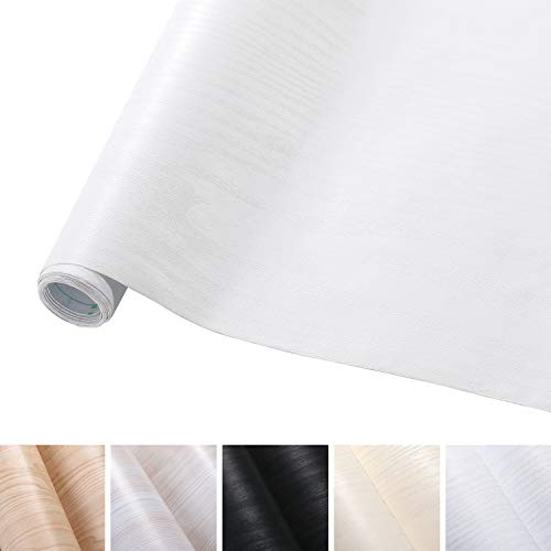 KINLO 5X0.61M Pegatinas Pared Madera Autoadhesivo PVC Vinilo Pegatinas Mueble Stickers Cocina 3D Papel Pintado Impermeable para Muebles/Cocina/Bano Color Blanco