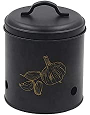 Black Galvanized Metal Garlic Storage Keeper