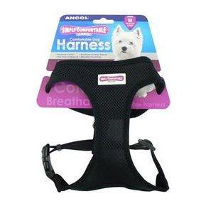 (12 Pack) Ancol Comfort Mesh Dog Harness Black Medium