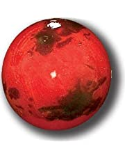 Red Mars Marble with 3 Color Mountains & Ice Caps, 5 in A Pouch, 1 Inch Diameter