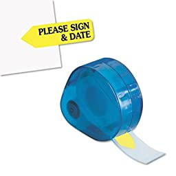 Redi-Tag Corporation 81124 Arrow Message Page Flags In Dispenser, Please Sign and Date, Yellow, 120 Flags