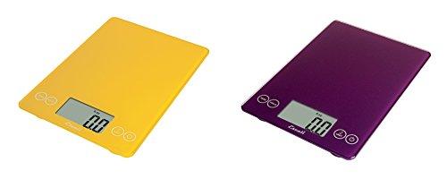 Escali Arti Glass Kitchen Scale, 15 Lb / 7 Kg - Solar Yellow and Deep Purple, Set of 2 by Escali