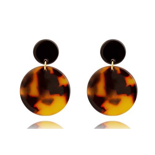 Mottled Dangle Earrings Bohemia Acrylic Resin Disc Drop Stud Earrings for Women