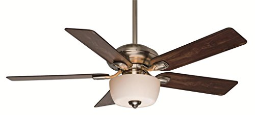 Casablanca 54042 Utopian Gallery 52-Inch 5-Blade Single Light Ceiling Fan, Brushed Nickel with Walnut/Burnt Walnut Blades and Cased White Glass Bowl Light