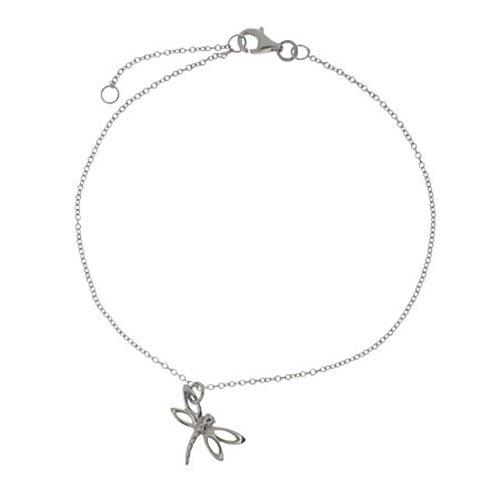 Sterling Silver Dragonfly Charm Anklet Bracelet, 8.5