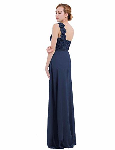 34 de Marine Crmonie Elgante Bleu Robe Femme Casual iEFiEL Une Soire FR Mariage Bal Longue paule Robe Cocktail Robe 46 Robe Fleur 1Ennq0UR