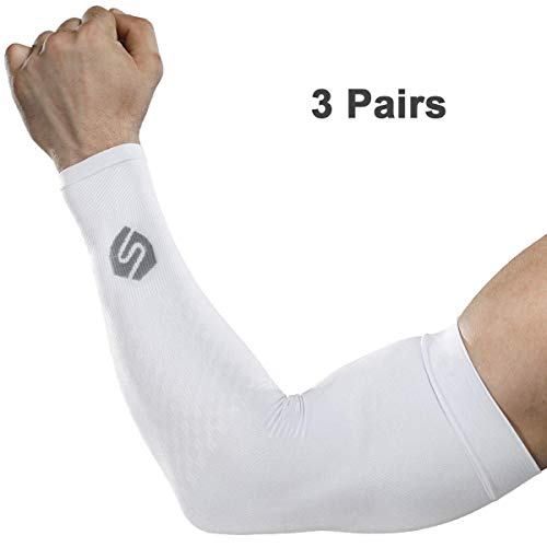 SHINYMOD Cooling Sun Sleeves 2018 Newest Upgraded Version 1 Pair/ 3 Pairs UV Protection Sunblock Arm Tattoo Cover Sleeves Men Women Cycling Driving Golf Running-(3 Pair White)