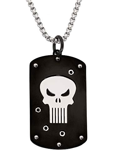 Marvel Comics The Punisher Jewelry, Stainless Steel Dog Tag Pendant Necklace, 22