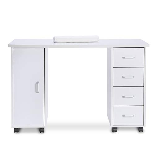 Nail Table Artist Hand Portable Manicure Station Desk Spa Beauty Salon Wooden Technician Table W/Drawers (White Double Side)