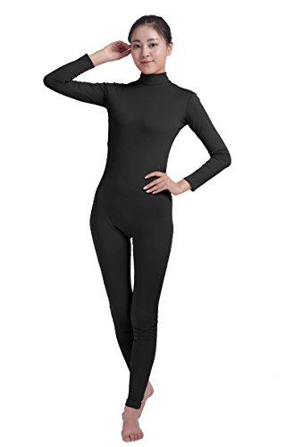 Ensnovo Womens Turtleneck Spandex Long Sleeve Front Zipper Footless Unitard