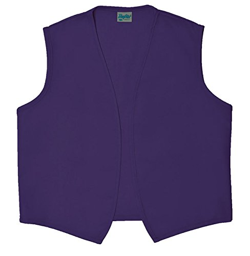 Style A740NP No Pocket Unisex Uniform Vest, (Extra Large, Purple) -