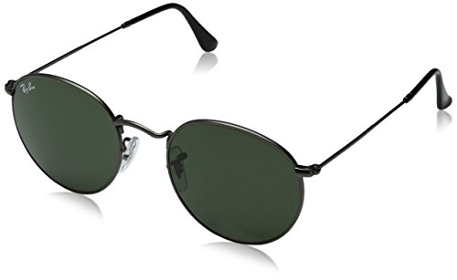 Gunmetal Frame Grey Polarized Lens (Ray-Ban RB3447 029 ROUND METAL - MATTE GUNMETAL Frame CRYSTAL GREEN Lenses 50mm Non-Polarized)