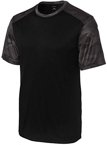 DRIEQUIP Mens CamoHex Athletic Shirt-2XL-Black/IronGrey (Shirt Athletic Mens)