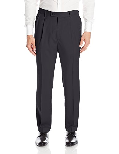 (Louis Raphael Men's Modern Fit Pleated Easy Care Solid Dress Pant with Waistband, Navy, 36W x 34L)