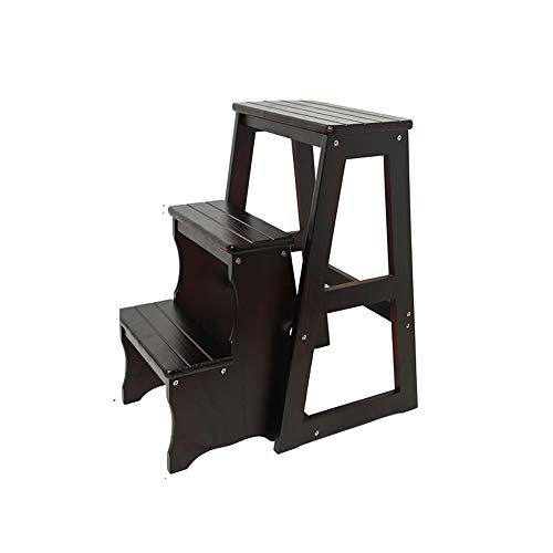 - Step Stool, Household Solid Wood Step Stool, Mobile Folding Ladder, Multi-Function Portable