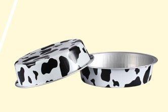 KEISEN 4 2/3'' mini Disposable Aluminum Foil Cups 215ml for Muffin Cupcake Baking Bake Utility Ramekin Cup 24/PK (Cow lines)