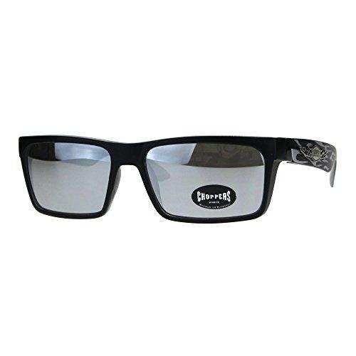 (Mens Color Mirror Flame Choppers Plastic Narrow Horn Rim Sunglasses Black Grey Mirror)