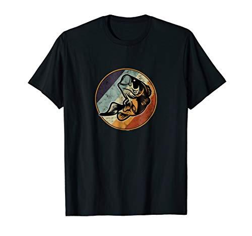 Retro Largemouth Graphic Art Bass Fishing T-Shirt