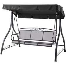 Outdoor Porch Swing Deck Furniture with Adjustable Canopy Awning. Weather Resistant Wrought Iron...