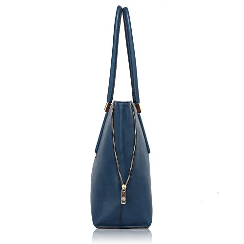 Large Bags Navy Large Handbags Tote New Office Design Ladies Shoulder Womens College Leather 3 q540O0