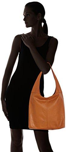 éclair Cuoio à Italy cuir Orange fermeture sac CTM en femme sac bandoulière la dans in Made 100 à 41x55x12cm véritable main R0Cfwqf