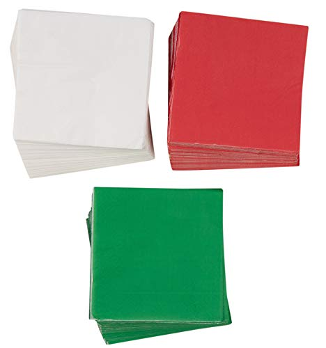 Cocktail Napkins - 210-Pack Disposable Paper Napkins, Christmas Holidays Dinner Party Supplies, 2-Ply, 3 Classic Solid Colors, Red, Green, and White, Unfolded 10 x 10 Inches, Folded 5 x 5 Inches