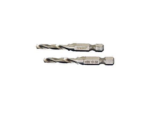 TEMO 2 pc 10-32 Combination Drill and Tap Multi Use Deburr Countersink Hex Bit by TEMO (Image #3)