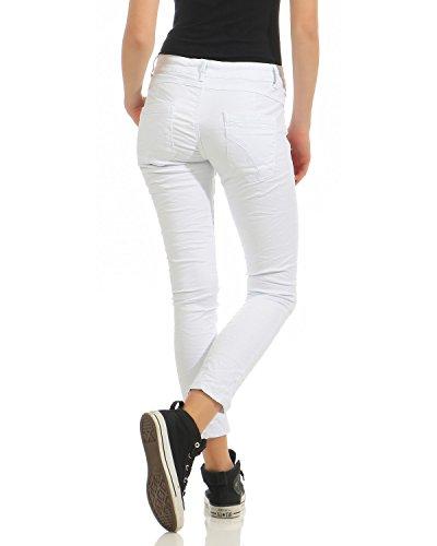 Bianco Look Zarmexx Skinny Lavati Donna Bottoni Boyfriend hop Con Used Pantaloni Hip Tube Elasticizzati Da Di Baggy Jeans vvqfTrg