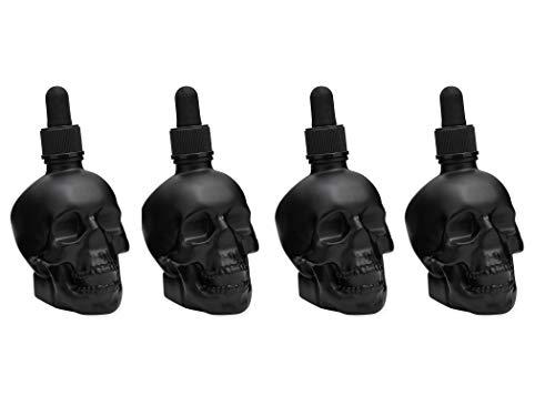 (Skull Shaped Glass Bitters Bottle Dasher - 2 oz (Set of 4))