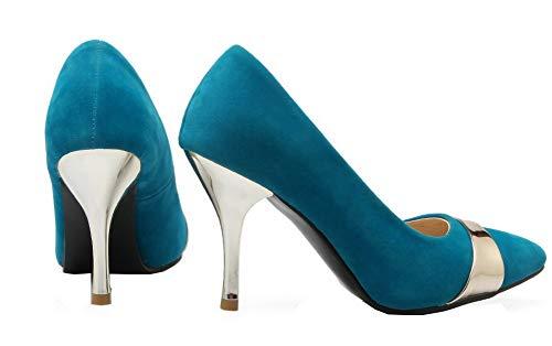 Blu pattini Delle Camoscio Rotonda Pull Alti Fbudd011924 punta Pompe Imitato on Allhqfashion Donne Talloni P4w1UcwOxq