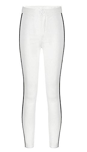 Patchwork Leggings Simple Moda Sottile Donna Casual Skinny Vita Alta Bianca Fitness da Lungo Fashion Pantaloni Pantalone Running a Xq1qFP