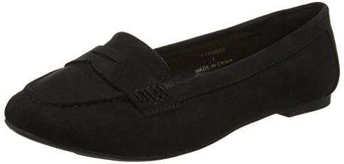 New Look Women's Wide Fit Suedette Penny Loafers Black (Black 1)