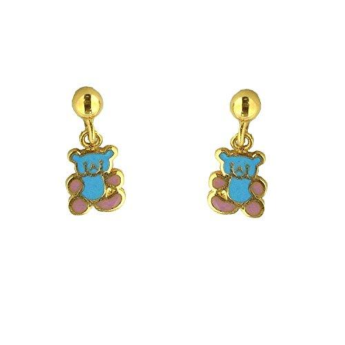 Teddy Bear Enamel Earrings - 18K Yellow Gold Pink and Blue Enamel Teddy Bear Earrings (14mm X 5mm)