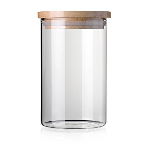 Large Bamboo Canister - STACK UP Transparent Food Storage Canister - Safe Clear Borosilicate Glass Jar with Wooden Lid - Perfect Container for Kitchen Organization - Keeps Food Dry and Fresh - Cylinder, Capacity 27.1 fl oz.
