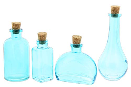 Couronne Company Apothecary Style Glass Bottle Set with Corks - Set of 4 Assorted Bottles (Aqua) ()