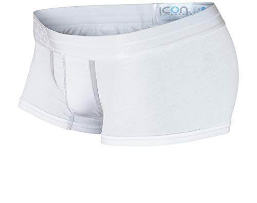 ICON Basewear Low-Rise Boxer Brief Underwear Trunks, Mens, Single Pack (White, Large)
