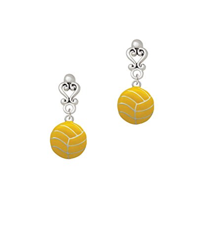 Large Water Polo Ball - Filigree Heart Earrings