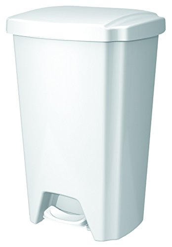 Hefty Step-On Wastebasket, 12-1/2 Gallon, White