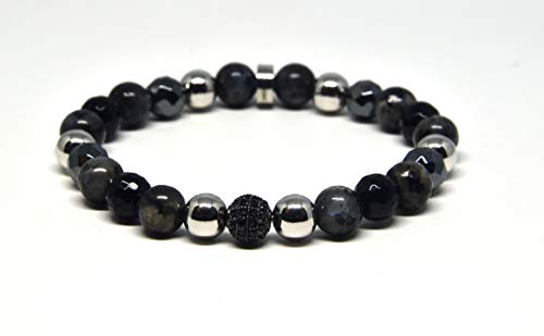 Genuine Faceted Black Onyx and Black Labradorite Stretch Bracelet With CZ Crystals