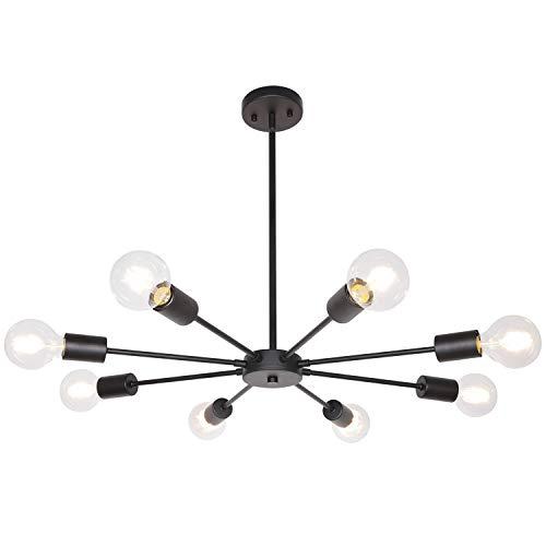 Sputnik Lights Black 8 Lights Mid Century Chandelier Modern Ceiling Light Metal Pendant Lighting for Kitchen Dining Room Bedroom UL Listed by MELUCEE