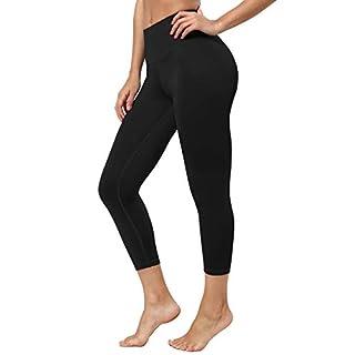 "BUBBLELIME 22"" Women's Yoga Leggings High Compression Workout Basic Capris_Black L_22"" Inseam"